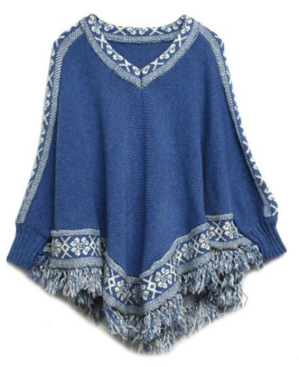 top blue and white top batwing sleeves cape top tassel hem v neck fringed hem poncho sweater www.ustrendy.com