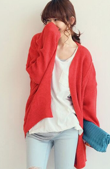 Oversized open knit cardigan with front pockets