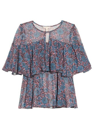 top chiffon floral print silk blue