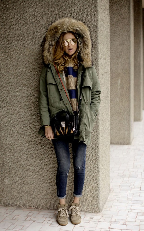 the blonde salad parka striped sweater winter coat winter outfits
