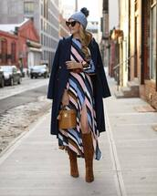 sunglasses,black sunglasses,heart sunglasses,suede boots,knee high boots,handbag,midi dress,striped dress,slit dress,long sleeve dress,belted dress,coat,wool coat
