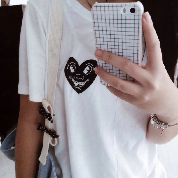t-shirt white white t-shirt heart shirt tumblr tumblr outfit phone cover grid phone cover logo iphone case checkered t-shirt grid patterned black funny