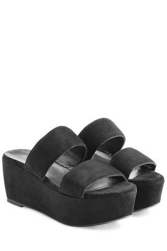 sandals platform sandals suede black shoes