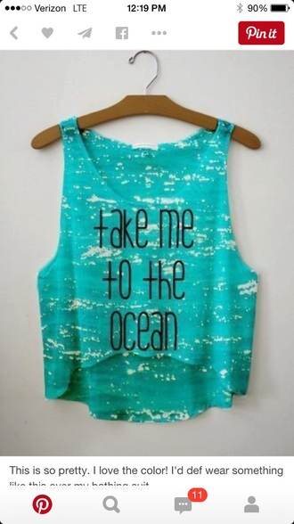 tank top ocean crop tops muscle tee spagetti straps blue shirt hot sunmer summer top summer holidays