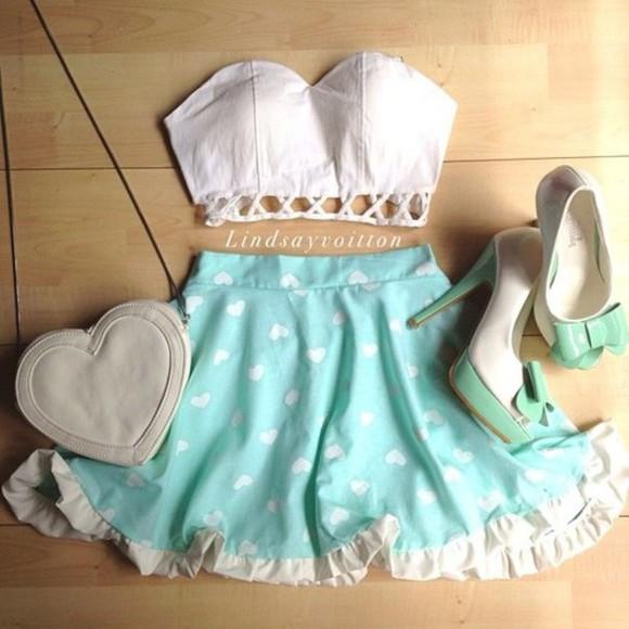 skirt mint skirt baby blue skirt white love hearts summer skirt