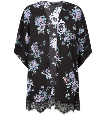 Teens Black Chiffon Lace Hem Kimono