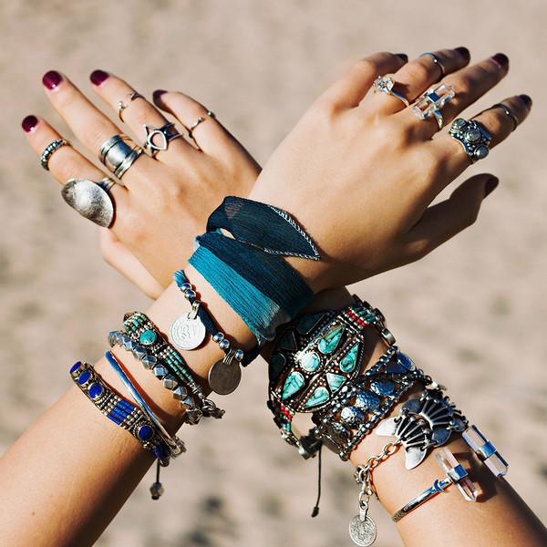jewels bohemian boho hippie crystal ring crystal turquoise clear quartz herkimer diamond moon bracelets