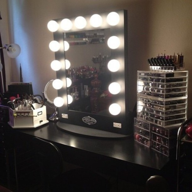 Home accessory: makeup table, lighting, makeup table, black, mirror, make-up, vanity makeup ...