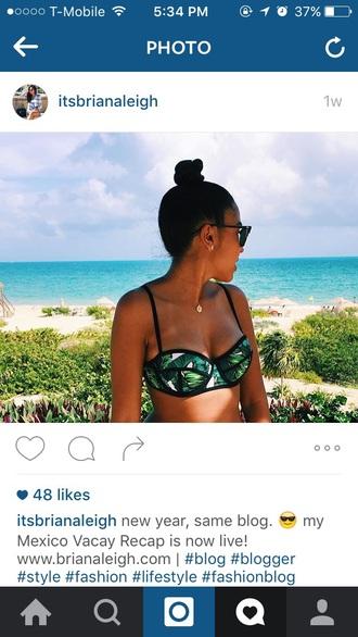 swimwear green leaves bikini top