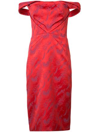 dress off the shoulder women spandex red