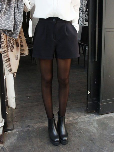 shorts black shorts blouse tights boots blackboots