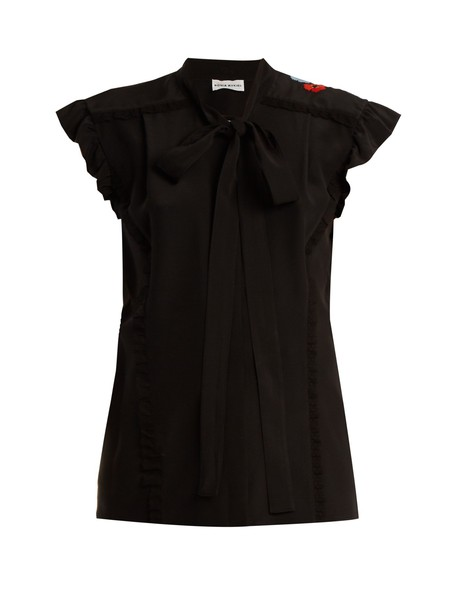 Sonia Rykiel blouse embroidered floral silk black top