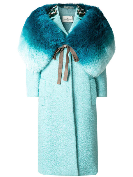 Anya Hindmarch coat cut-out fur fox women embellished blue silk wool