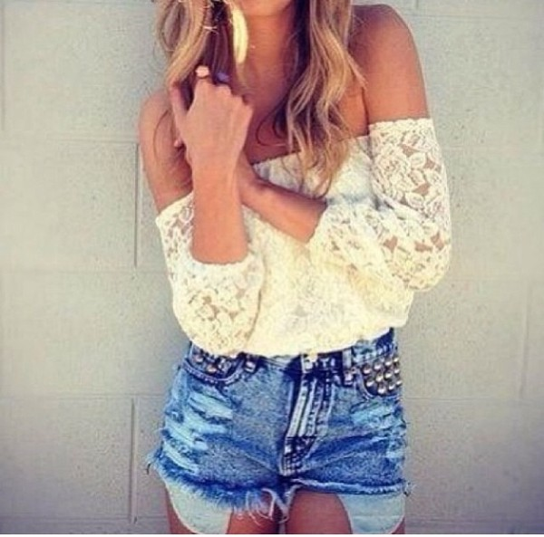 blouse white flower shoulderfree top lace white white lace top off the shoulder High waisted shorts studs ripped shorts