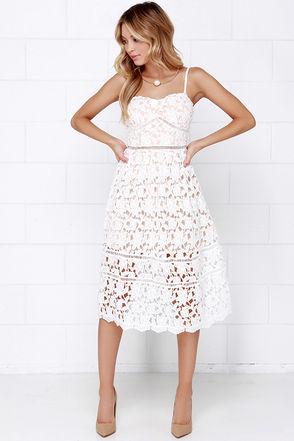 ecb18996663 Pinnacle of Prestige Ivory Lace Midi Dress