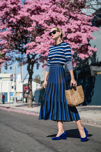 late afternoon blogger skirt top shoes sunglasses jewels bag midi skirt pleated skirt mid heel pumps basket bag striped sweater