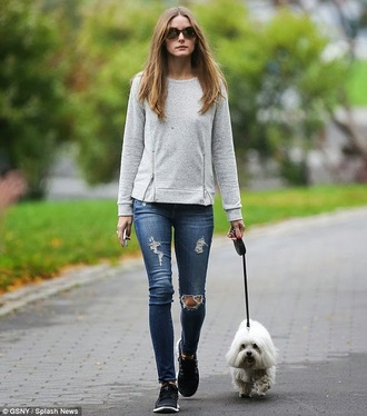 sweater jeans olivia palermo streetstyle style olivia fashion week 2014 new york city grey sweater zip sweater grey zip sweater
