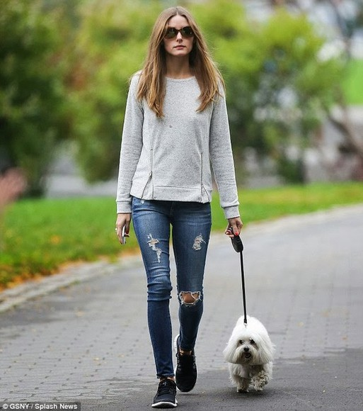 olivia olivia palermo jeans streetstyle style fashion week 2014 sweater new york city grey sweater zip sweater grey zip sweater