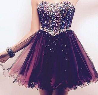 dress embellished bedazzled dress prom dress prom short prom dress purple dress purple