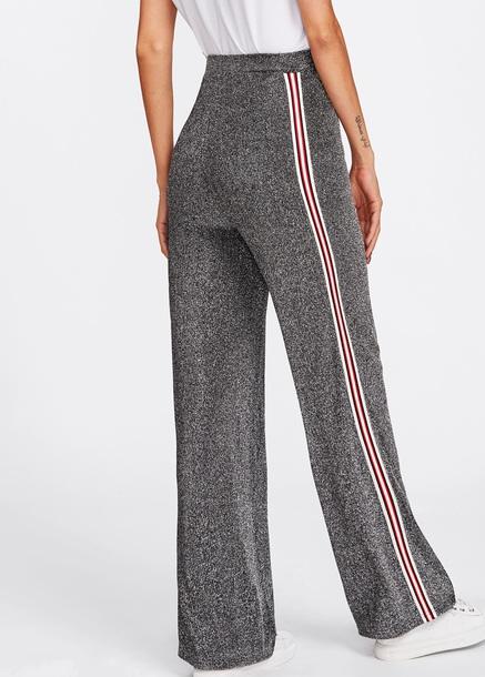 pants girly grey glitter side stripe pants high waisted