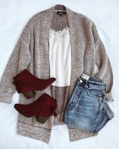 cardigan,grey cardigan,shoes,red shoes,sweater