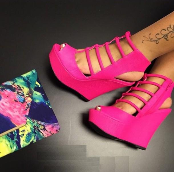 shoes pink heel wedges heels