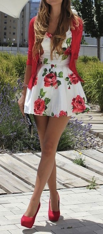 dress red dress roses floral floral dress heels high red heels coat jacket red outfit date outfit rose shoes rose dress skater dress white cute sweet