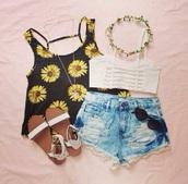 tank top,t-shirt,shoes,fashion,top,flower shirt,shorts