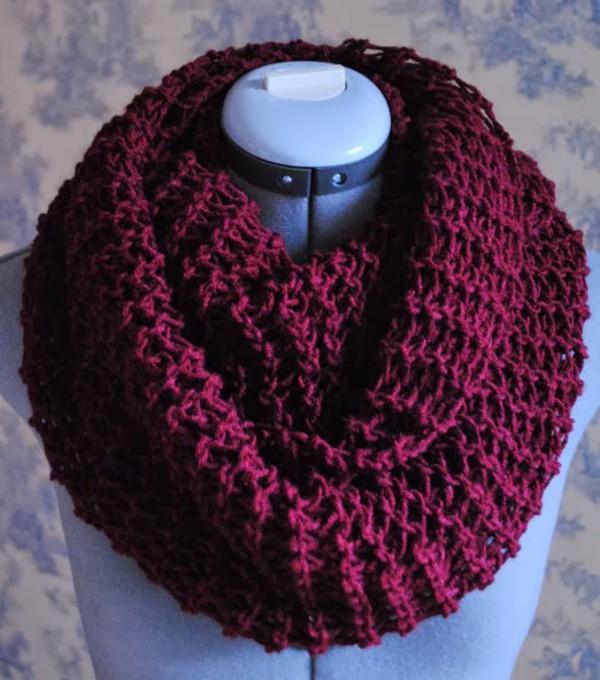 Sale Knit Scarf Infinity Scarf In Burgundy Crochet Infinity Scarf