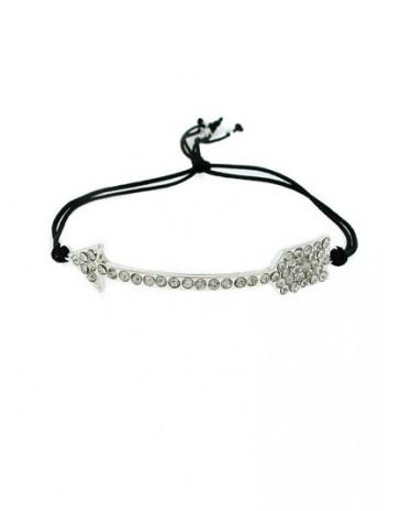 Black crystal arrow friendship bracelet