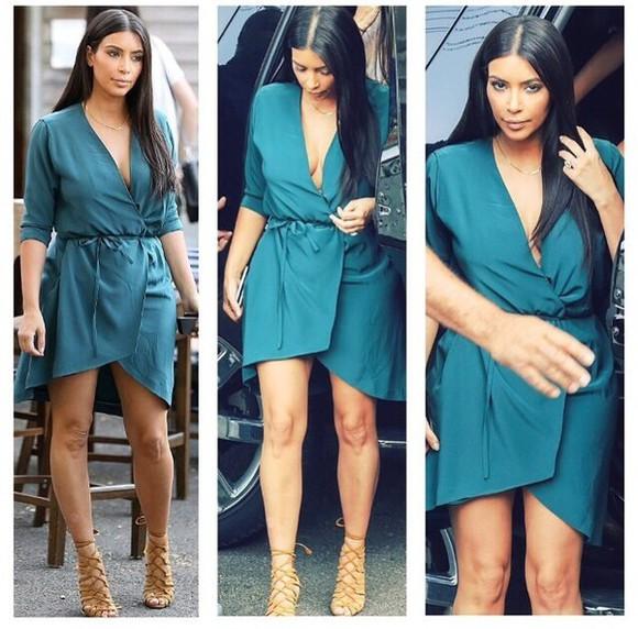 kim kardashian teal wrap dress