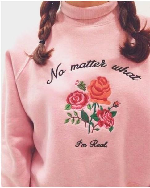 Sweater Pink Pink Sweater Tumblr Rose Turtleneck Turtleneck
