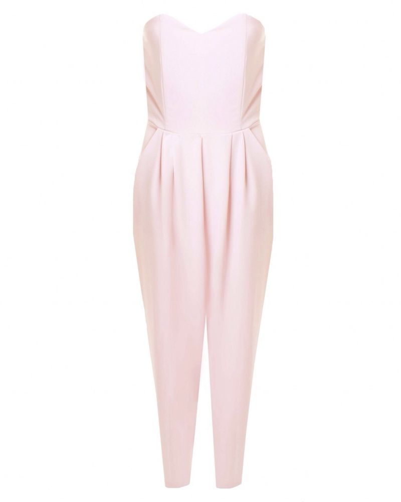 Love at TOPSHOP Powder Pink Strapless Jumpsuit | eBay