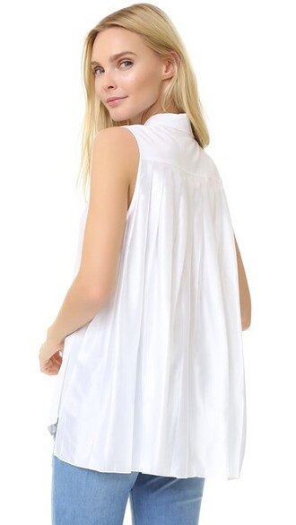 blouse sleeveless white bright top