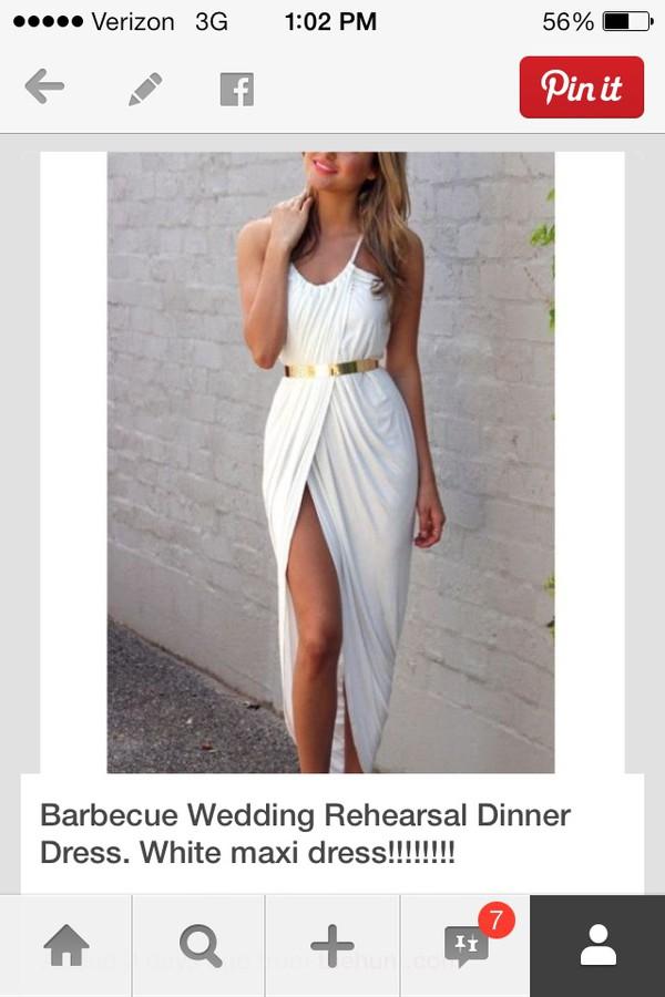 white maxi dress gold belt