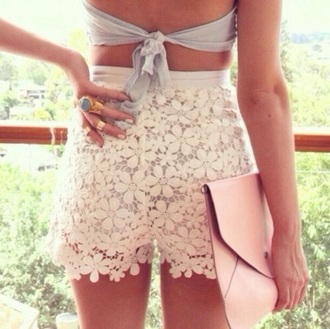 shorts floral high waisted shorts floral skirt floral dress lace dress lace up white lace dress lace shorts white lace shorts crop tops bag pink bag grey top strapless top beach beautiful style fashion jewels top