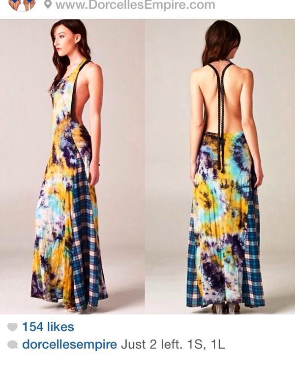 tie dye maxi dress dress high-low dresses los angeles fashion trendy lookbook cute dress cut offs low back dress
