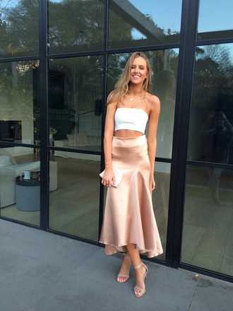 skirt champagne champagnecolour light pink pink long skirt midi skirt silk silk skirt formal australia melbourne sydney