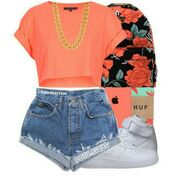 bag,pink,coral,white,gold chain,cute,top,shorts,huf,cuffed shorts