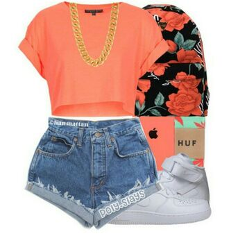 bag pink coral white gold chain cute top shorts huf cuffed shorts