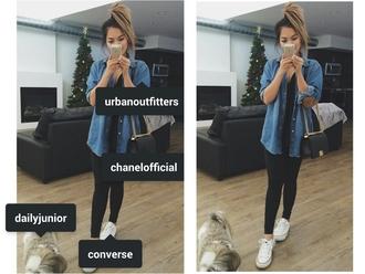 shirt thatshearts thatheart urban outfitters chanel black jean blouse jeans