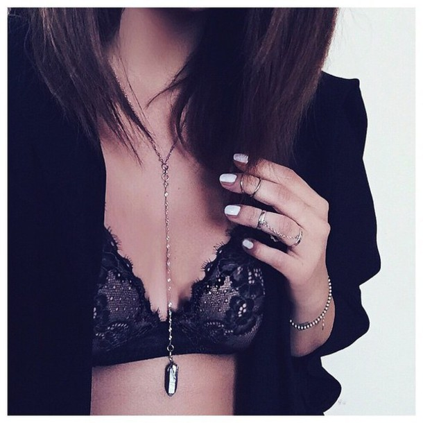 jewels crystal choker necklace lace bra ring ring necklace crystal quartz crystal neckalce bralette top