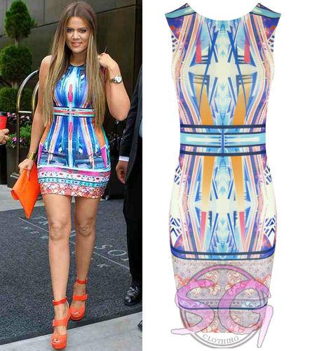 WOMENS LADIES CELEB NEON STRIPE FLOWER SPLASH PRINT BODYCON MIDI DRESS VEST TOP   Amazing Shoes UK