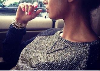 sweater women sweater knitwear silver silver sweater