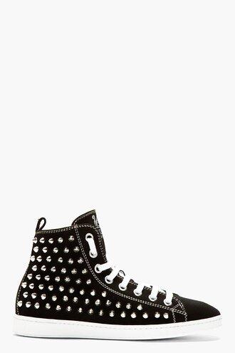 stud shoes spike sneakers black menswear canvas high