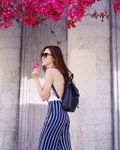 pants,reformation,blue pants,stripes,striped pants,top,white top,backpack,black backpack,sunglasses