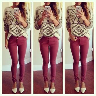 print tribal pattern grey sweater cozy sweather fall sweater jumper geometric
