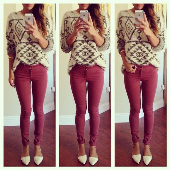 print tribal pattern grey sweatshirt cozy sweather fall sweater cute sweaters geometric