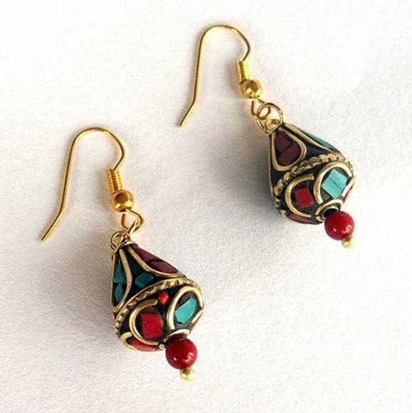 coral jewels jewelry earrings turquoise handmadejewelry nepal earrings women christmas gifts