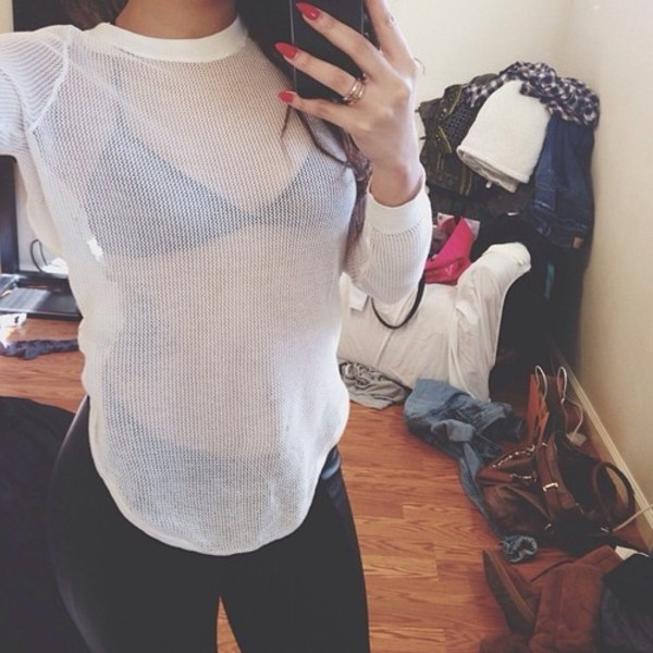 shirt mesh top top white top white shirt long sleeves tumblr instagram mesh t shirt underwear pants tank top